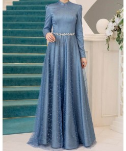 Aksin Indigo blue evening dress