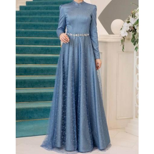 Aksin Indigo blue evening dress