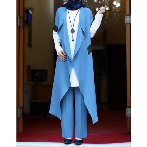 Asel blue vest suit