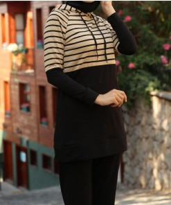 Beige striped sport tunic