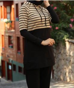 Beige striped sport tunic