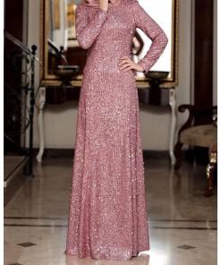 Bena rose colour evening dress