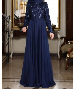 Beylem navy blue evening dress