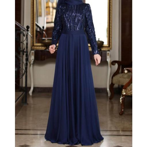 Beylem navy blue evening dress