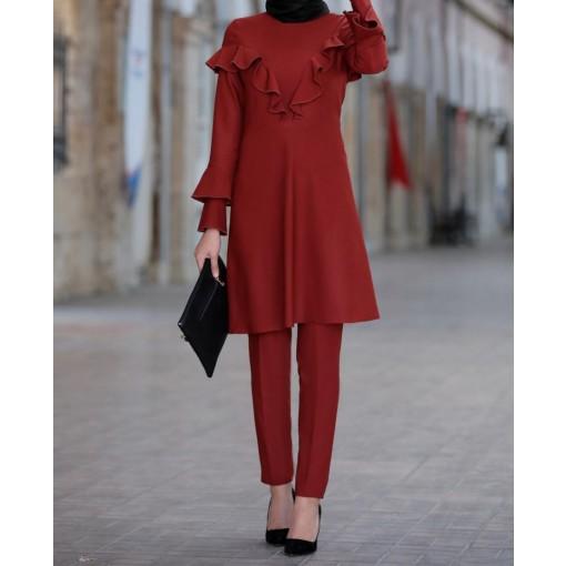 Brick colour suit