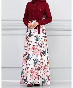 Claret red floral dress