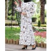 Ecru patterned dress