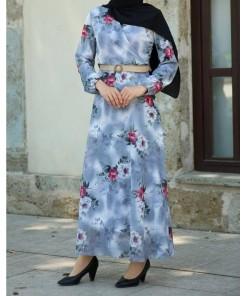 Flower Patterned Ice Blue Dress