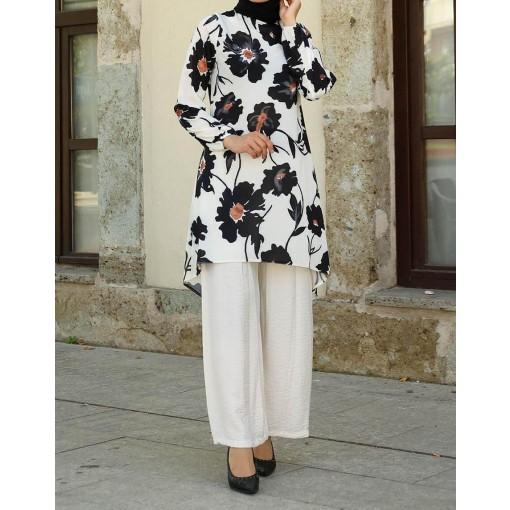 Flower patterned Tunic & pants suit