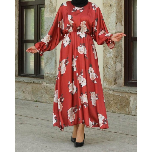 Flower patterned brick colour dress