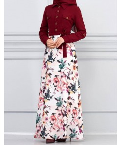 Flower patterned claret red dress