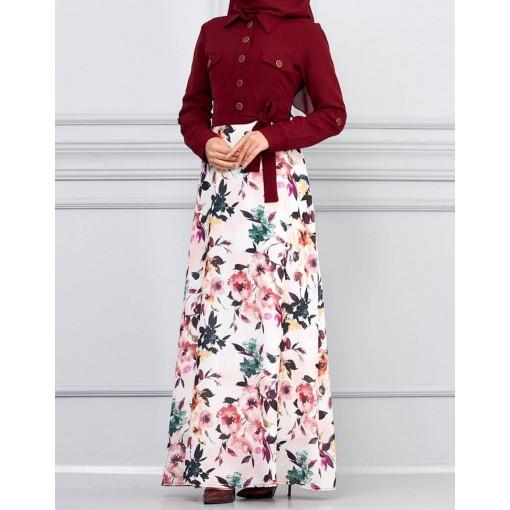 Flower patterned claret red dress
