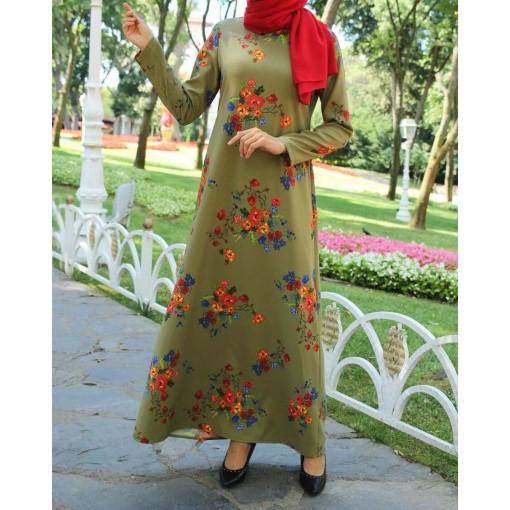 Flower patterned khaki dress