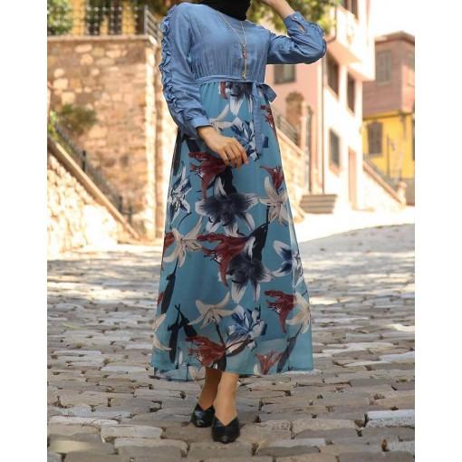 Flowre patterned Indigo colour dress