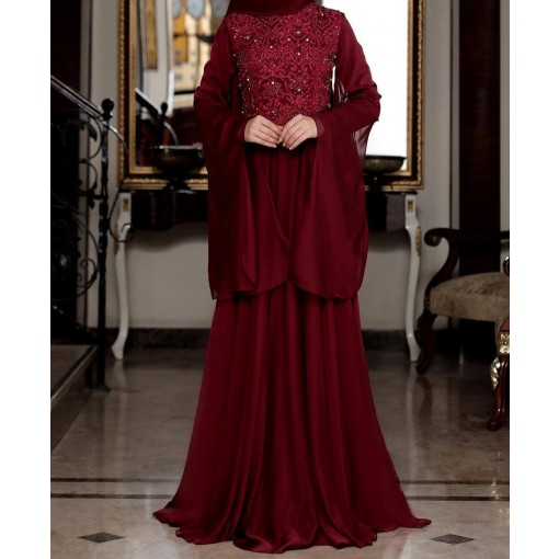 Godze claret red evening dress