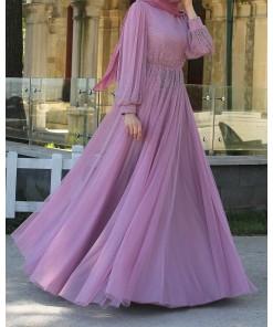Lila colour evening dress