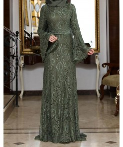 Melek khaki evening dress