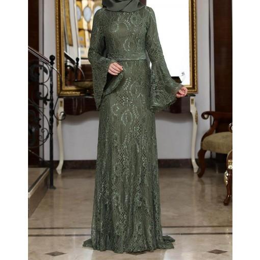 Melek khaki evening dress