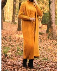 Mustard dress & cardigan