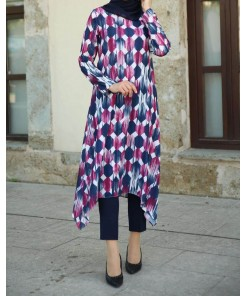 Navy Blue Fuchsia Tunic