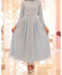 Rana dantel baby blue evening dress