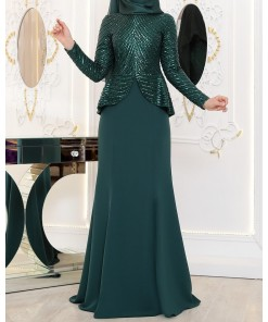 Safir green evening dress