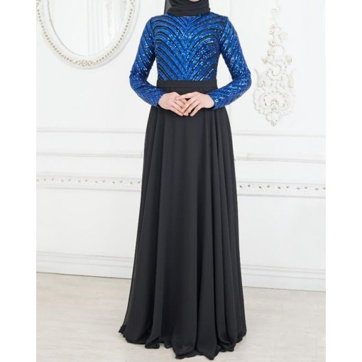 Sequin Detailed Sax Blue Dress