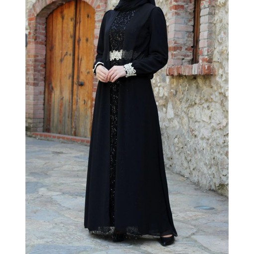 Sequin Detailed Black Dress