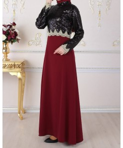 Sequin Detailed Claret Red Dress
