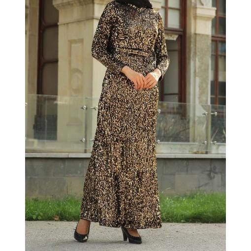 Sequin detailed gold dress