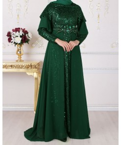 Sequin Detailed Green Dress