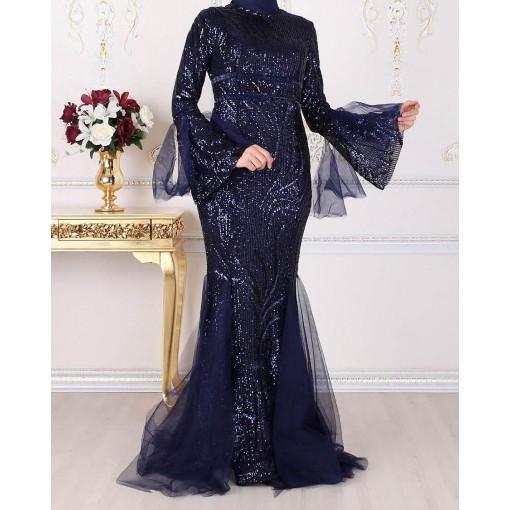 Sequin detailed navy blue evening dress