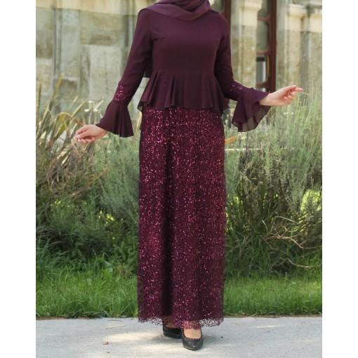 Sequin Detailed Purple Dress