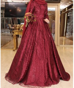 Setre claret red evening dress