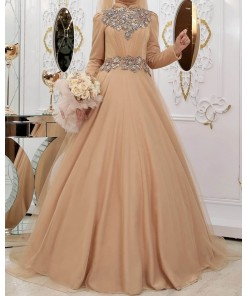 Simli sahra gold evening dress
