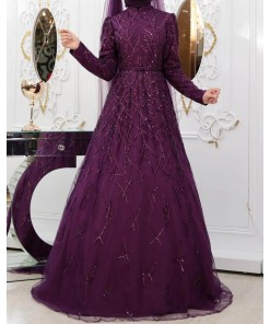 Yagmur purple evening dress