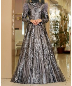 Zerya grey evening dress