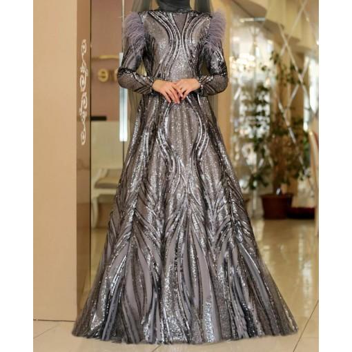Zerya grey evening dress