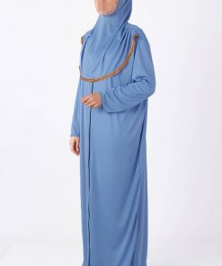 blue zipped abaya