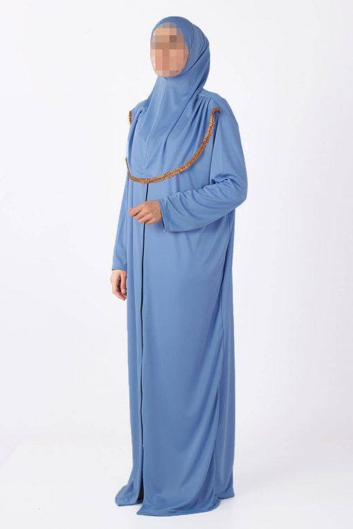 blue zipped abaya