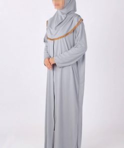 Grey zipped abaya