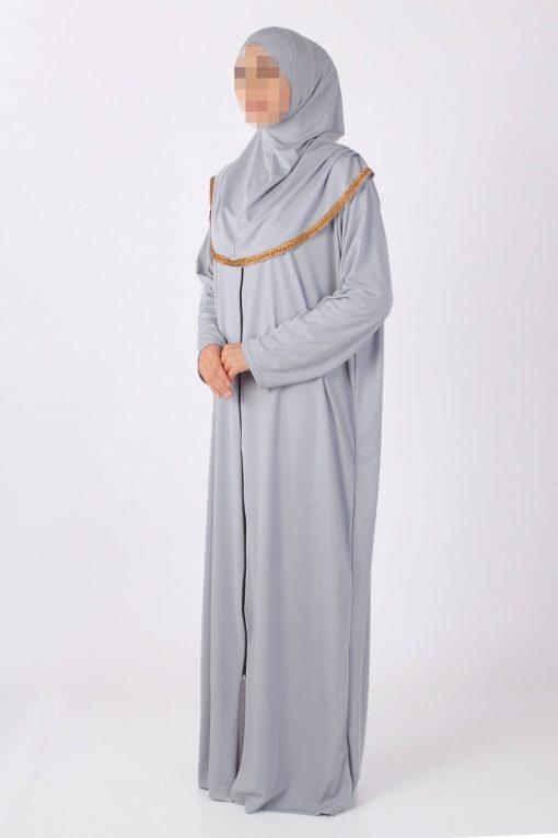 Grey zipped abaya