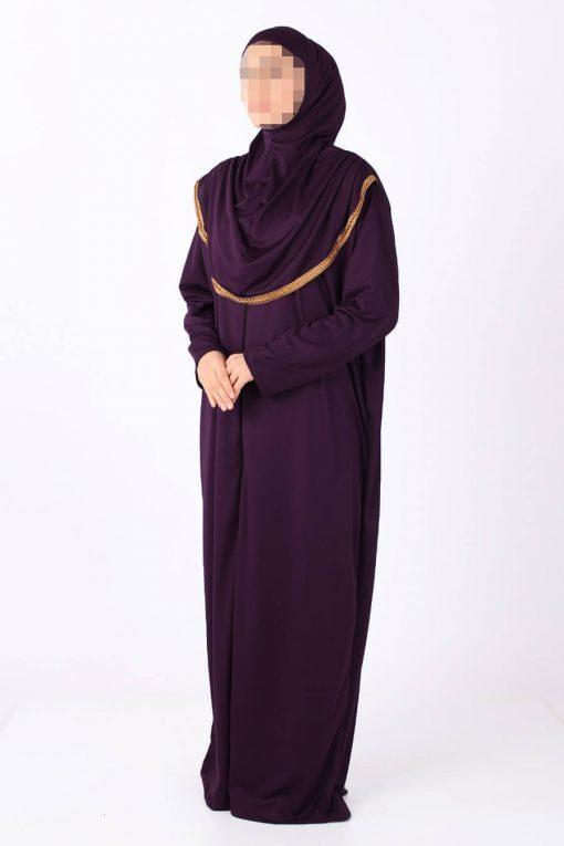 Purple zipped abaya