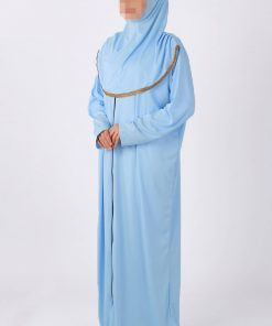 baby blue zipped abaya