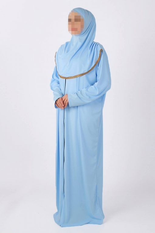 baby blue zipped abaya