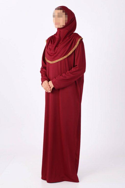 claret red abaya