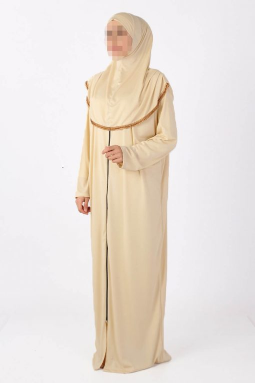cream zipped abaya