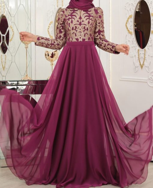 fuchsia evening dress