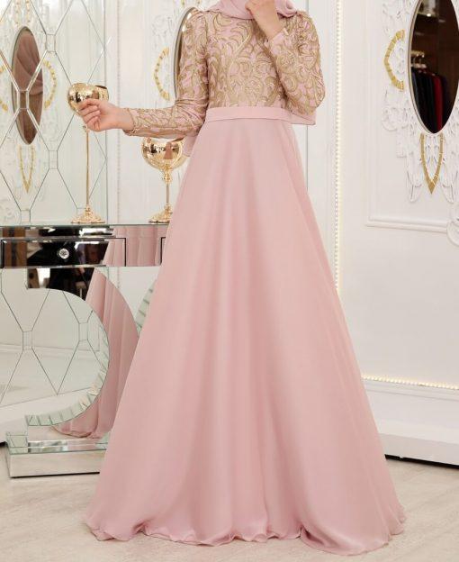 Powder pink evening dress