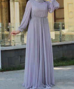 beaded grey_evening_dress